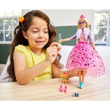 Barbie: Princess Adventure - Szőke hajú baba kiskutyával - . kép