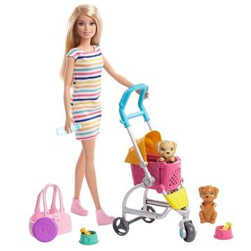 Barbie: Kölyök kutyus sétáltató játékszett