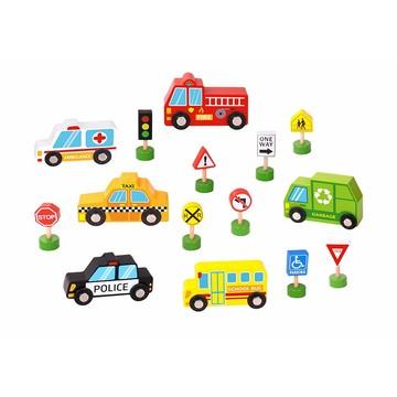 Városi járműkészlet közlekedési táblákkal fából - . kép