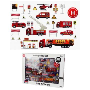 Nagy tűzoltó játékszett járművekkel és kiegészítőkkel