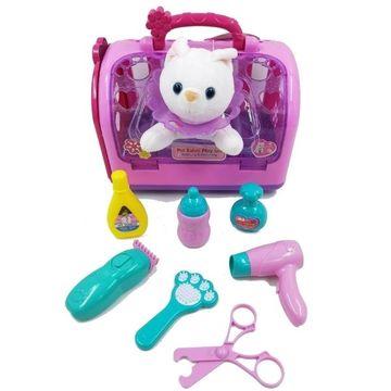 Hangot adó kiscica hordozóban, luxus fodrász készlettel - . kép