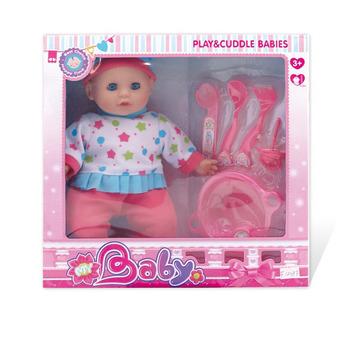 Játékbaba etetőkészlettel - 28 cm