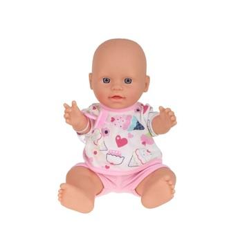 Játékbaba cumival, rózsaszín ruhában - 30 cm