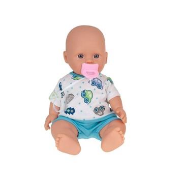 Játékbaba cumival, kék ruhában - 30 cm