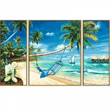 Schipper: Festés számok szerint - fehér homokos tengerpart, 50 x 80 cm, 3 részes - . kép