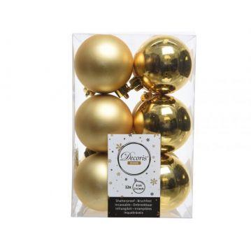 Műanyag karácsonyfadísz - 12 db, arany