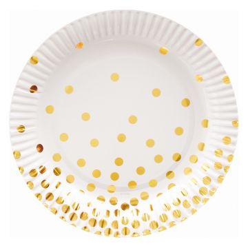 Arany pöttyös fehér papírtányér, 18 cm - 6 db