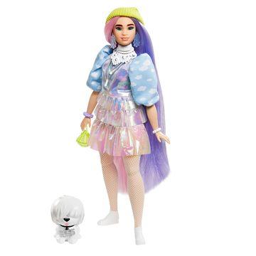 Barbie: Extravagáns pink-lila hajú baba csillogós szettben kiskutyával