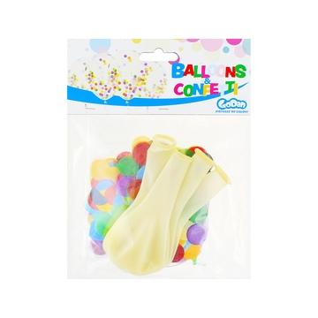 Léggömb csomag színes konfettivel, 30 cm - 4 db-os - . kép