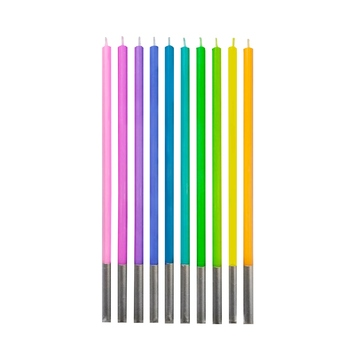 Set de 10 lumânări, culori pastelate asortate