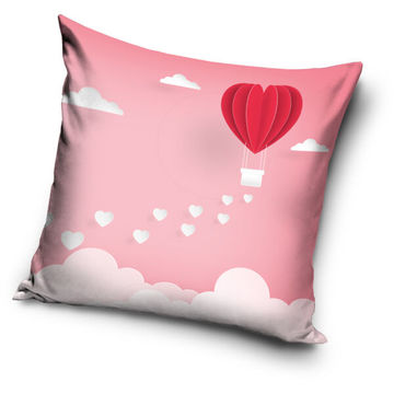 Valentin napi léggömb szív párnahuzat - 40 x 40 cm