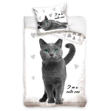 Szürke cica szívecskékkel, kétrészes ágyneműhuzat garnitúra