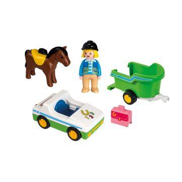 Playmobil 1.2.3.: Kisautó lószállító pótkocsival - . kép
