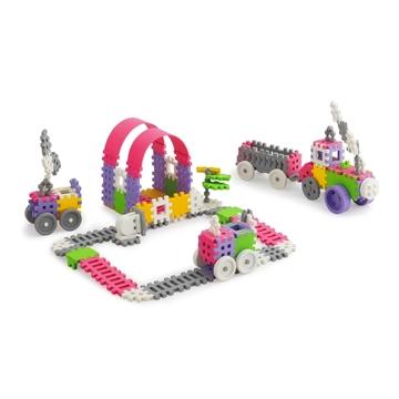 Mini gofri műanyag építőjátékszett lányoknak, 140 db-os - járművek - . kép