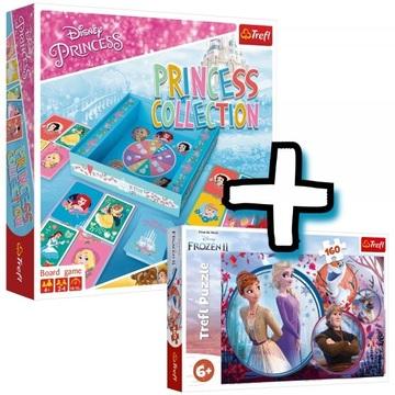 Trefl: Disney Hercegnők, Hercegnő gyűjtemény társasjáték + ajándék 160 darabos Jégvarázs puzzle