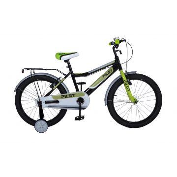 Pilot: Gyermek kerékpár - 16-os méret, fekete-zöld