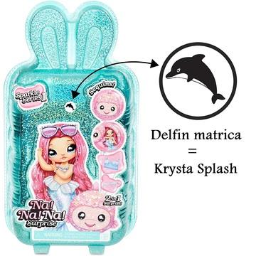 Na! Na! Na! Surprise: Krysta Splash 2 az 1-ben Sparkly meglepetés divatbaba, pénztárcával - 1. széria - . kép