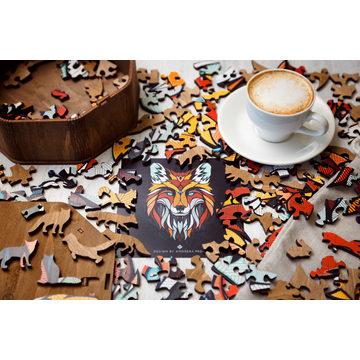 Ewa Wood: Róka formájú fa puzzle, különleges elemekkel - 141 darabos - . kép