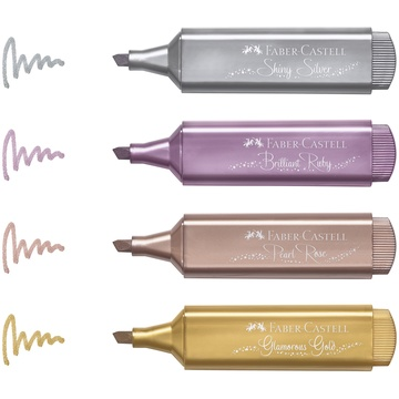 Faber-Castell: Set text marker - 4 buc, culori metalizate - .foto